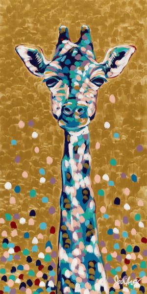 Jodi Augustine Original Print of a colorful Giraffe.