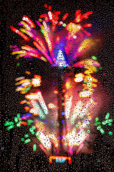 New Year Countdown Fireworks Raindrops