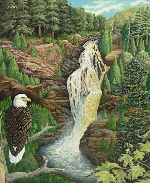 """Eagle Eyes On Big Manitou Falls"" fine art print by Sue Zabel of Artistic Memories."