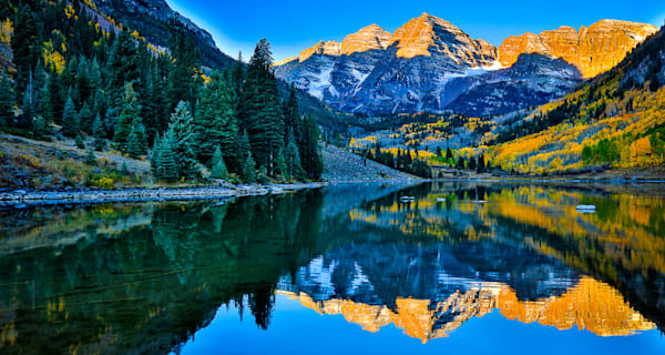 Maroon Bells Blue Pano Photo Print