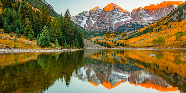 Maroon Bells Sunrise Pano Photo Print