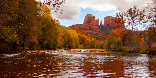 Sedona - Cathedral Rock Reflection Pano Photo Print