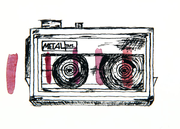 Metal Cassette Player | Red Wine Tic Marks Art | Human Truth