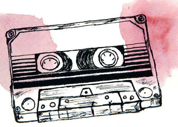 Mix Tape | Red Wine Blush Art | Blue Orange Thing