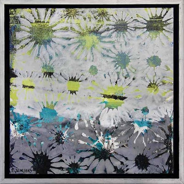 'Starburst 2' # 1848 Original small abstract painting by award winning artist Shirley Williams