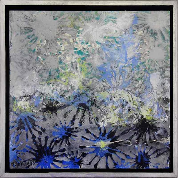 Original small abstract painting titled Starburst 3 by artist Shirley Williams