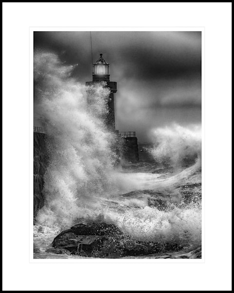 26 St Peter Port Lighthouse in a storm