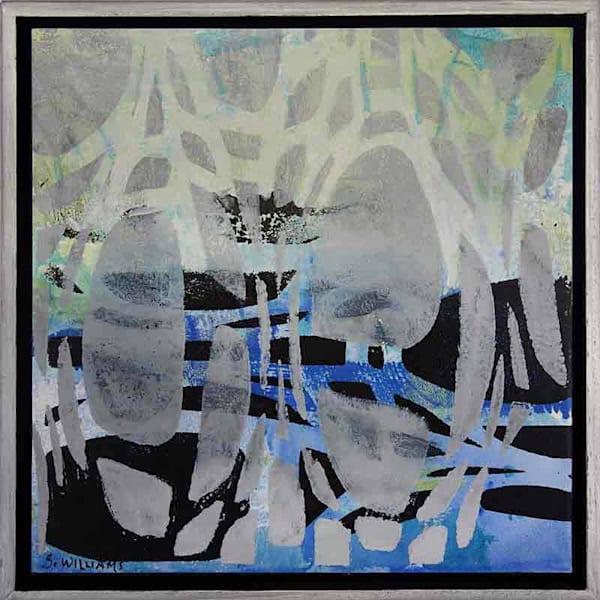 'Land & Sea 1' # 1850  Original small abstract painting by award winning artist Shirley Williams