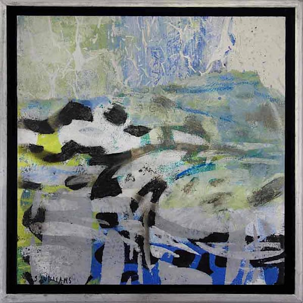 Original small abstract painting titled 'Land & Sea 2' by artist Shirley Williams