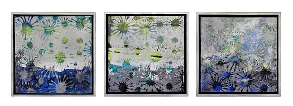 Small grouping of three 'Starburst' miniature paintings by Shirley Williams