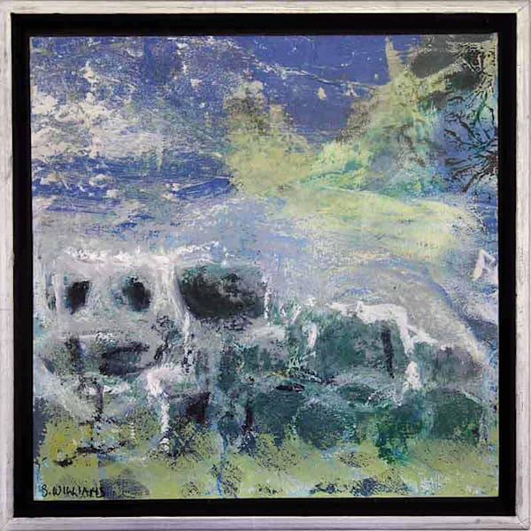 Original small framed abstract landscape titled Distant Horizons by artist Shirley Williams