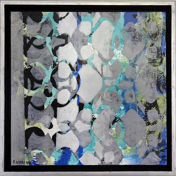 Original small float framed abstract  artwork titled Flickering Light by artist Shirley Williams