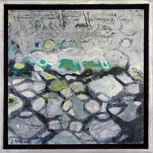Original small abstract painting titled Chain Link Fence by artist Shirley Williams