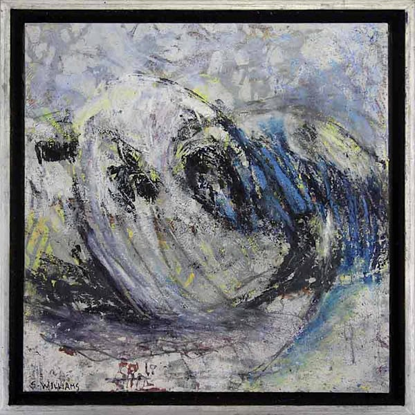 Small framed original abstract painting titled Rolling Waves by artist Shirley Williams