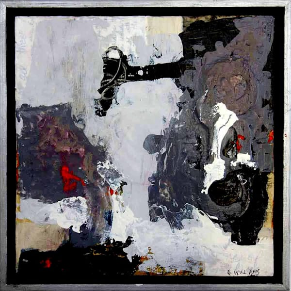 Float framed original abstract painting titled Buried Treasure by artist Shirley Williams