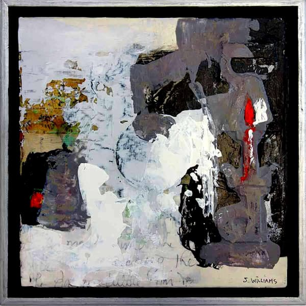 Framed original small abstract painting called Buried Treasure by artist Shirley Williams