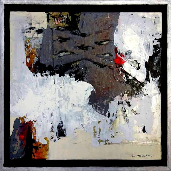 Original framed abstract painting series titled Buried Treasure by painter Shirley Williams