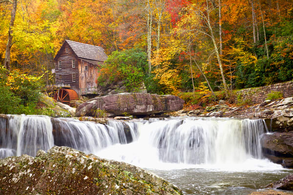 Waterfall In Autumn Photo Prints