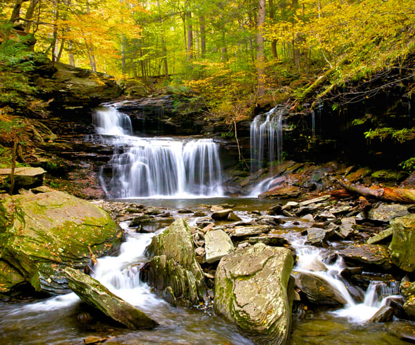 Autumn Waterfall at Ricketts Glen | Landscape Photography - Art By Smiths