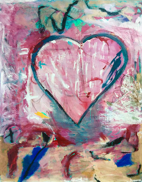 Valentine Heart Painting by Mary Kinzelberg