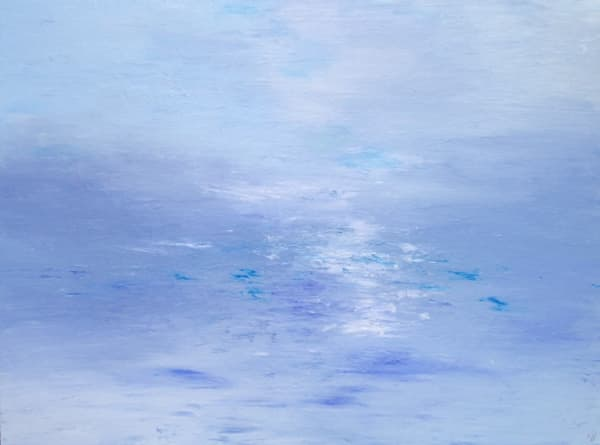 Water's Mystique, Original Acrylic Finger Painting, Framed