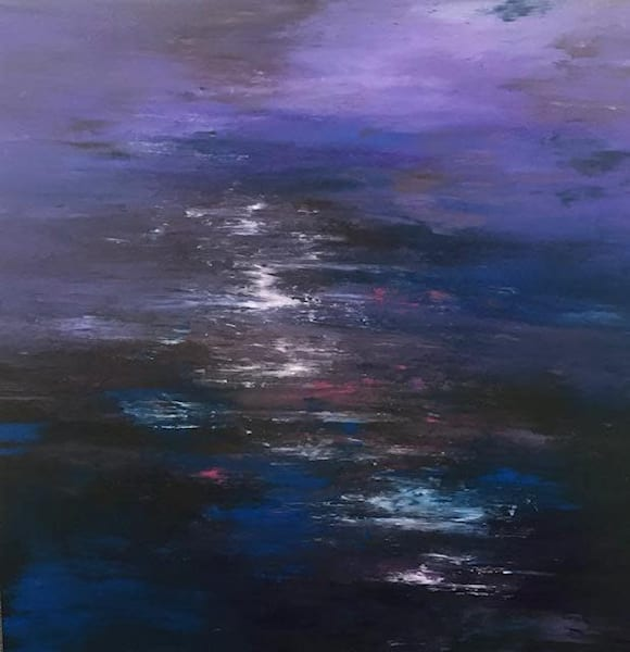 Yesterday, acrylic painting done with hands, Sue Vittner, Abstract purples