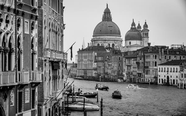 Fine Art black and white print of the Grand Canal in Venice from Ponte dell'Accademia