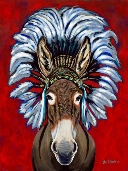 Original painting of a donkey wearing an Indian headdress, available as art prints.