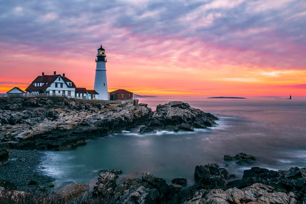 Fine Art print capturing a colorful sunrise at Portland Head Light in Maine
