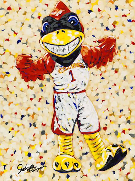 Cy Basketball. An original acrylic painting of Iowa State University's Mascot Cy painted by Jodi Augustine.