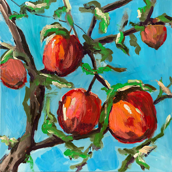 Peaches Up High in the Sky | Fine Art Painting Print by Rick Osborn