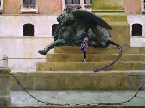 lion statue girl beneath wing oil painting