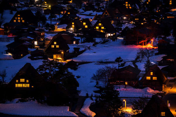 Shirakawa-go Night in Winter