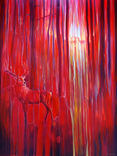 red forest calls red oil painting of red deer in a red forest