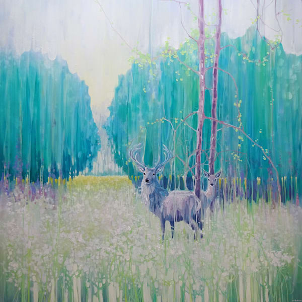 monarchs of spring large landscape painting with deer in sussex wildflower meadow