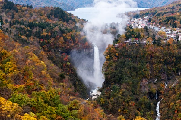 Fall colors Kegon-no-taki water falls in Nikko