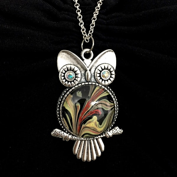 Owl Pendant Necklace, Antique Silver Tone