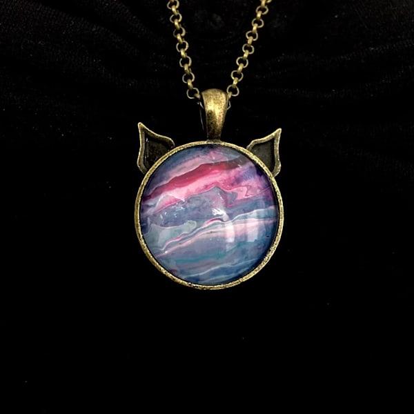 Cat Pendant Necklace, Antique Bronze Tone