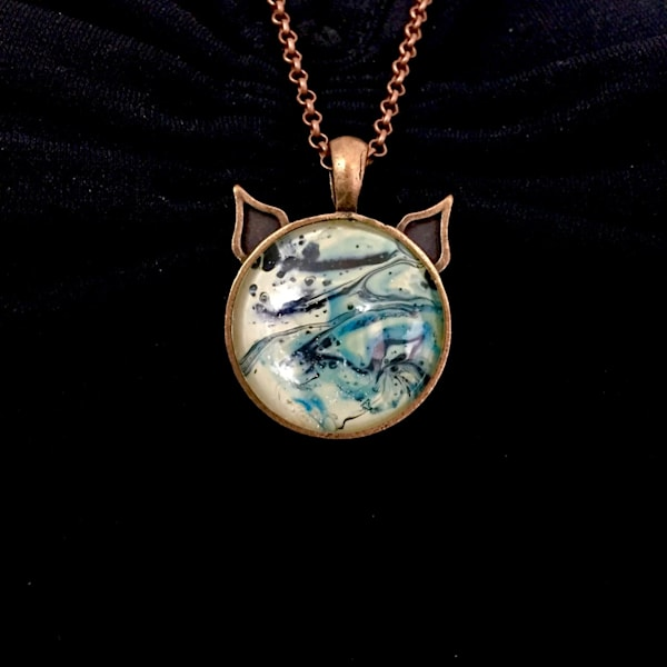 Cat Pendant Necklace, Copper Tone