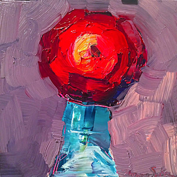"Fantastic ""Still life With Ranunculus And San Pellegrino 5"" -Beautiful red ranunculus flower bouquet in a san Pellegrino bottle by Monique Sarkessian."