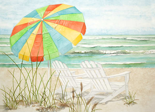 Print from a watercolor painting of two Adirondack chairs and a beach umbrella on the beach.  Print on  fine-art paper by watercolor artist Sandra Galloway