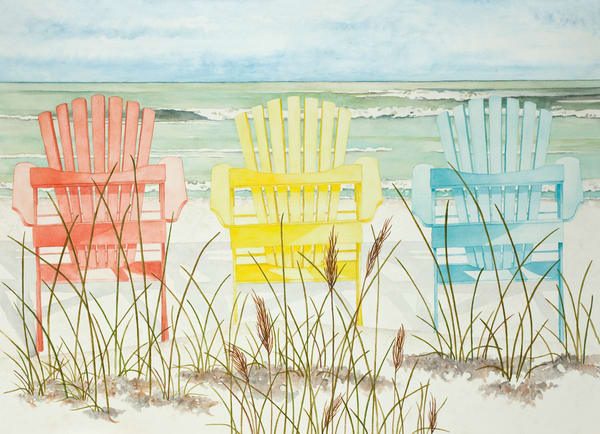 Print of a watercolor painting of three Adirondack chairs on the beach.  Print on  fine-art paper by watercolor artist Sandra Galloway