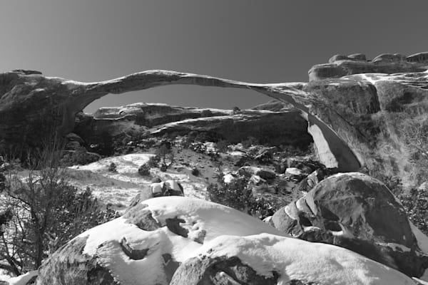 Morning Light and Fresh Snow on Landscape Arch