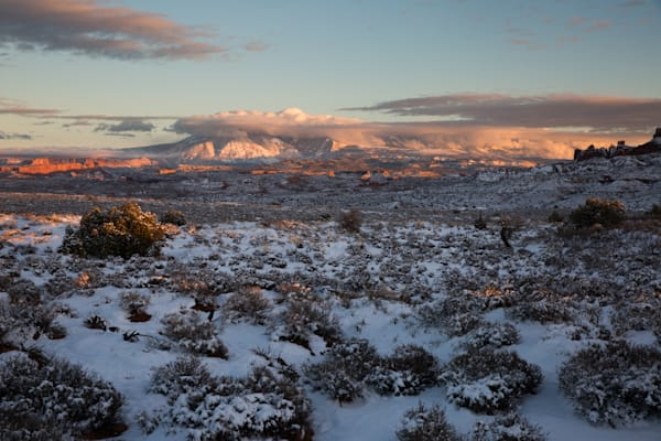 Last Light on the Cloud Covered La Sal Mountains