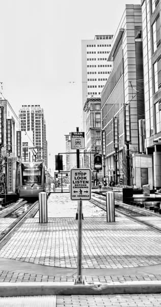 Houston City Center Train Crossing, DSC_1299 BW