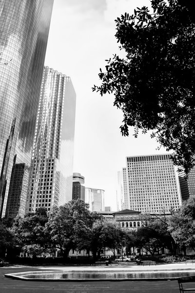 Houston Skyline Looking at Smith Street, DSC_1317 BW