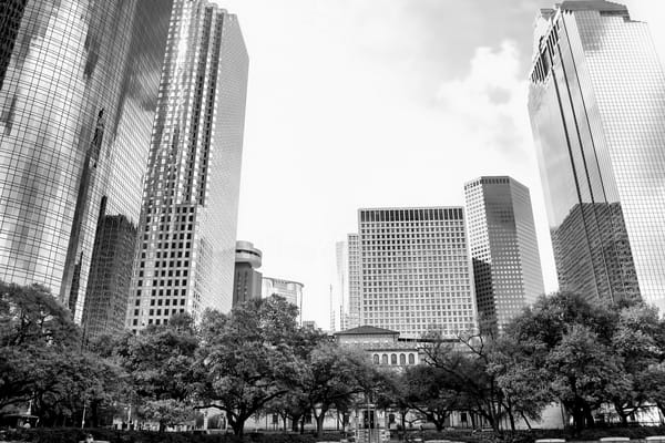 Houston Skyline Looking at Smith Street, DSC_1319 BW