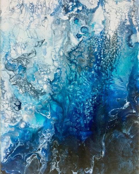 Deborah Younglao abstract glacier ice painting blue, turquoise