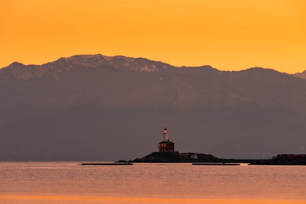 """Fisgard Lighthouse and Olympic Mountains"" Photograph for Sale as Fine Art."