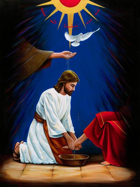 baptism, jesus, christ, painting, religious, mounira francis